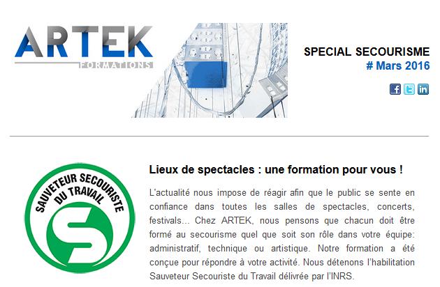 Lettre spéciale Secourisme ARTEK Formations