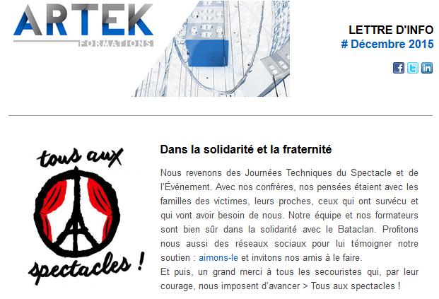 Newsletter ARTEK Formations décembre 2015